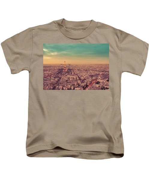 Paris - Eiffel Tower And Cityscape At Sunset Kids T-Shirt