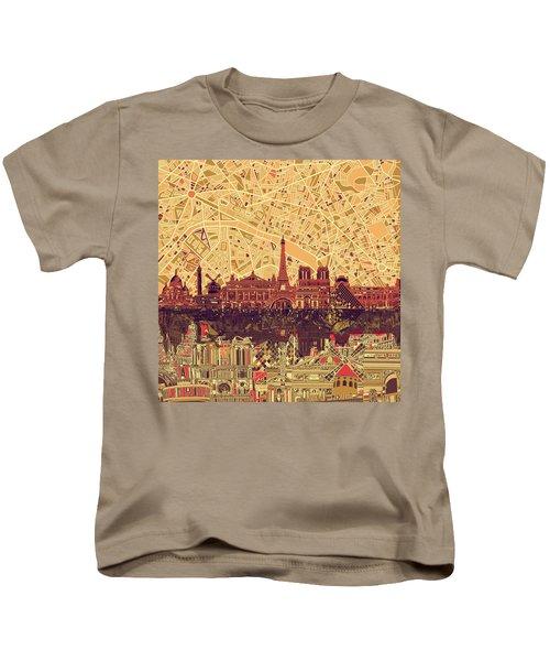 Paris Skyline Abstract Sepia Kids T-Shirt