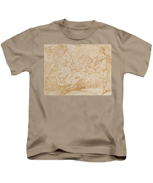 Perseus Rescuing Andromeda Red Chalk On Paper Kids T-Shirt by or Zuccaro, Federico Zuccari