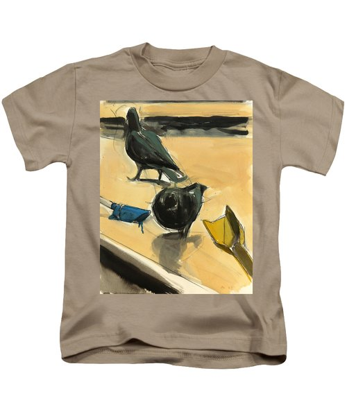 Pigeons Kids T-Shirt by Daniel Clarke