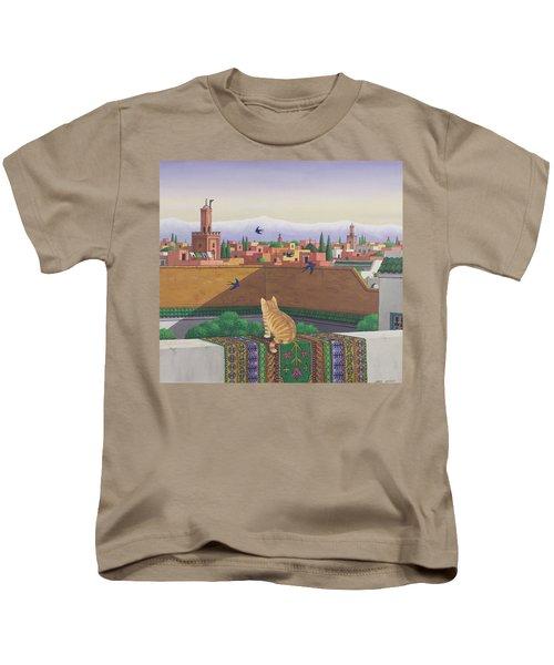 Rooftops In Marrakesh Kids T-Shirt by Larry Smart