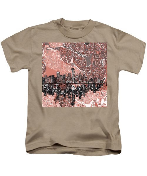 Seattle Skyline Abstract 5 Kids T-Shirt