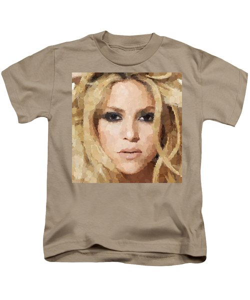 Shakira Portrait Kids T-Shirt by Samuel Majcen