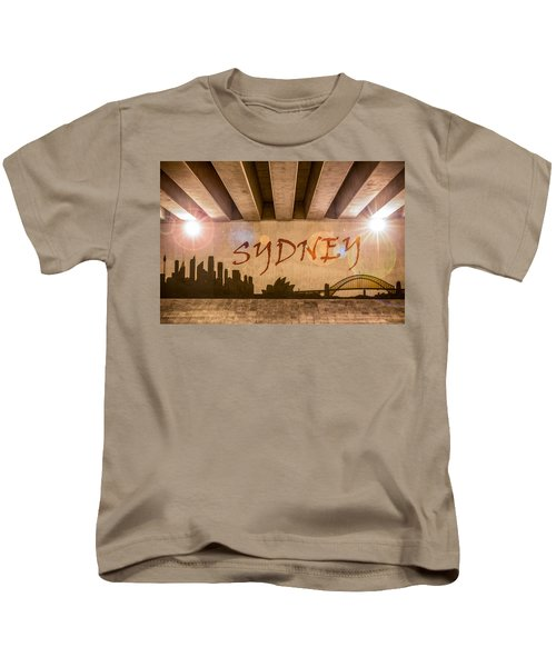 Sydney Graffiti Skyline Kids T-Shirt by Semmick Photo