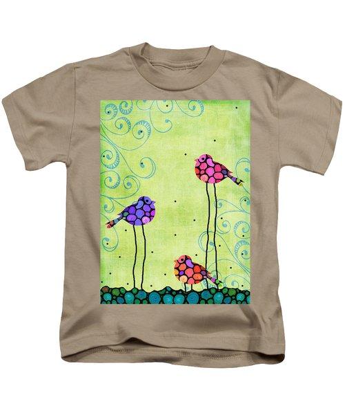 Three Birds - Spring Art By Sharon Cummings Kids T-Shirt by Sharon Cummings