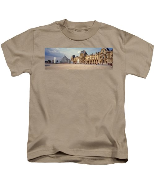 Tourists Near A Pyramid, Louvre Kids T-Shirt by Panoramic Images