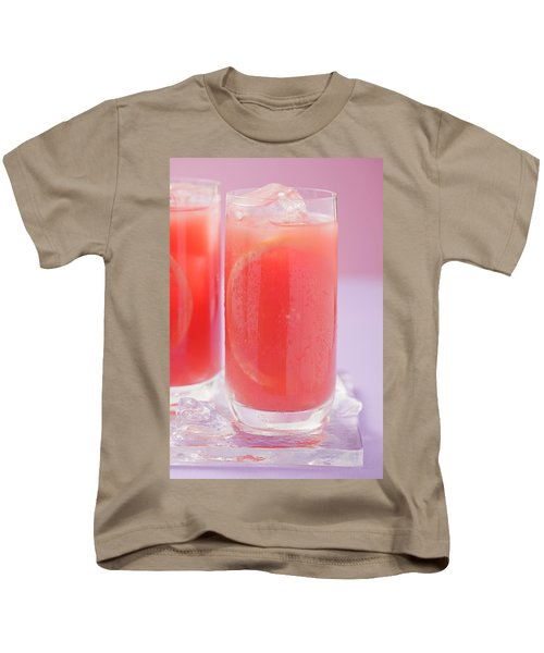 Two Glasses Of Pink Grapefruit Juice With Ice Cubes Kids T-Shirt