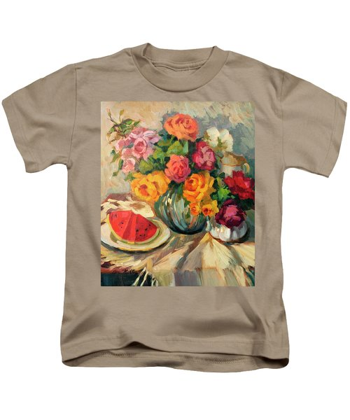 Watermelon And Roses Kids T-Shirt