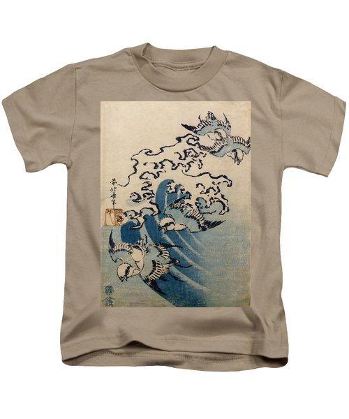 Waves And Birds Kids T-Shirt by Katsushika Hokusai