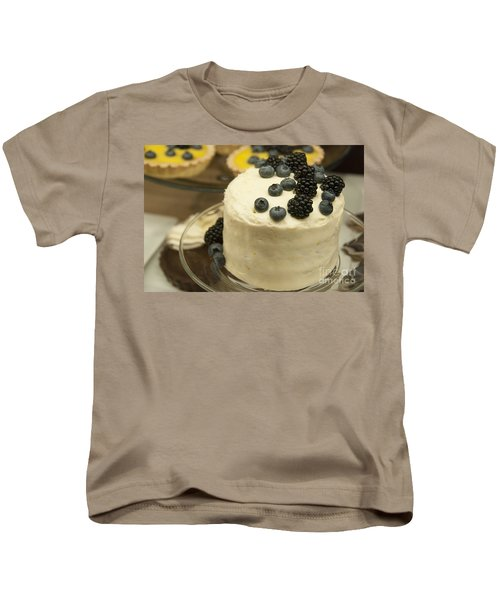 White Frosted Cake With Berries Kids T-Shirt by Juli Scalzi