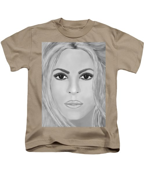 Shakira Black And White Kids T-Shirt by Mathieu Lalonde