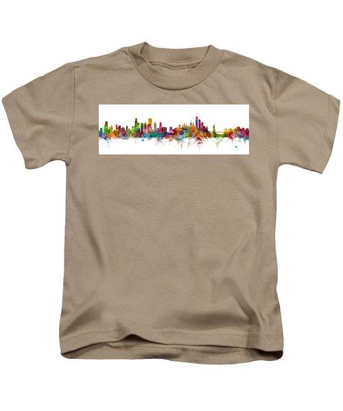 Chicago And New York City Skylines Mashup Kids T-Shirt