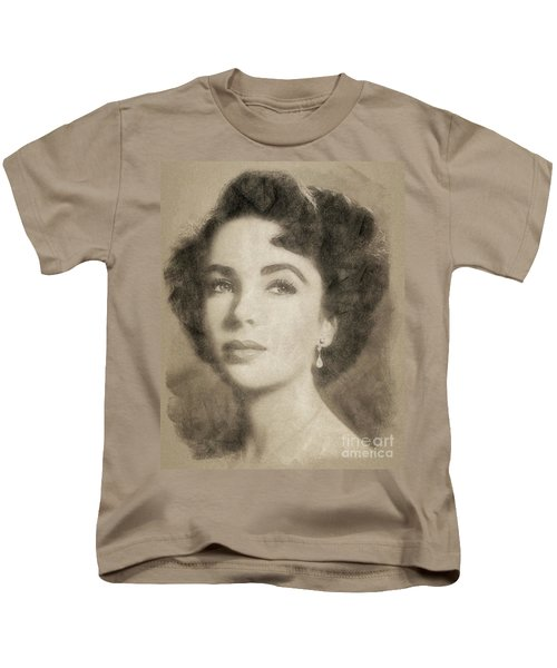 Elizabeth Taylor Hollywood Actress Kids T-Shirt by John Springfield
