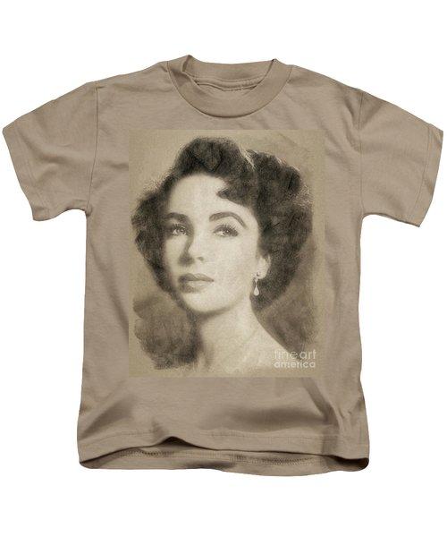 Elizabeth Taylor, Vintage Hollywood Legend By John Springfield Kids T-Shirt