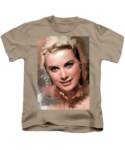 Grace Kelly, Vintage Hollywood Actress Kids T-Shirt by Mary Bassett