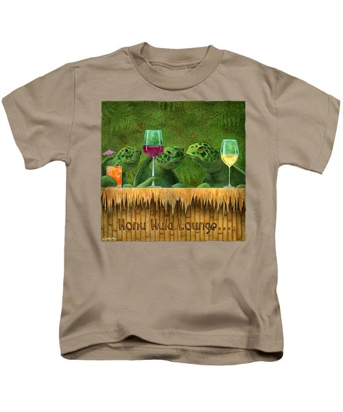Honu Hula Lounge... Kids T-Shirt by Will Bullas