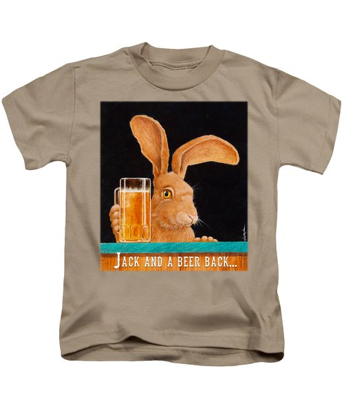 Jack And A Beer Back... Kids T-Shirt by Will Bullas