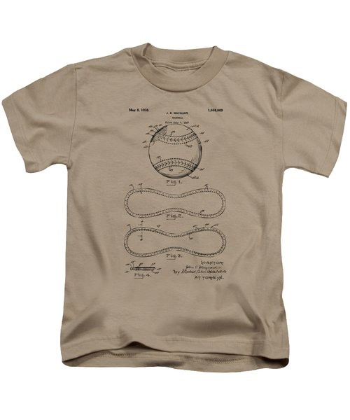 1928 Baseball Patent Artwork Vintage Kids T-Shirt by Nikki Marie Smith