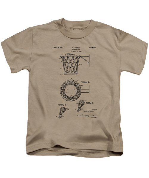 1951 Basketball Net Patent Artwork - Vintage Kids T-Shirt by Nikki Marie Smith