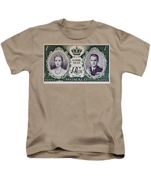 1956 Princess Grace Of Monaco Stamp II Kids T-Shirt by Bill Owen