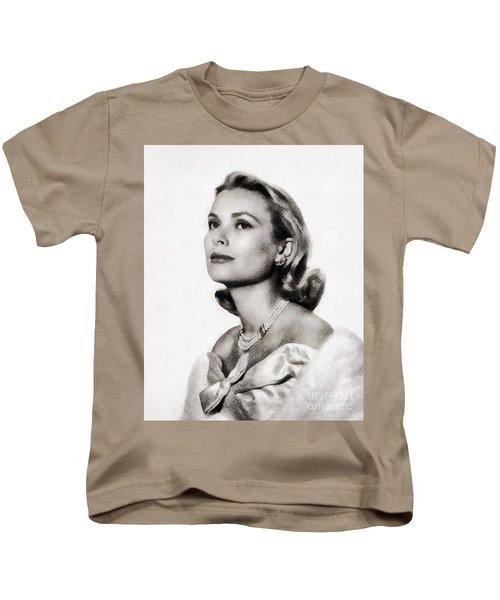 Grace Kelly, Vintage Hollywood Actress Kids T-Shirt by John Springfield