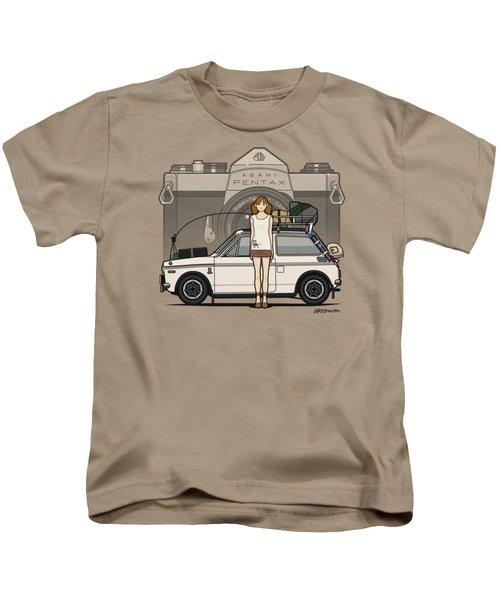 Honda N600 Rally Kei Car With Japanese 60's Asahi Pentax Commercial Girl Kids T-Shirt by Monkey Crisis On Mars