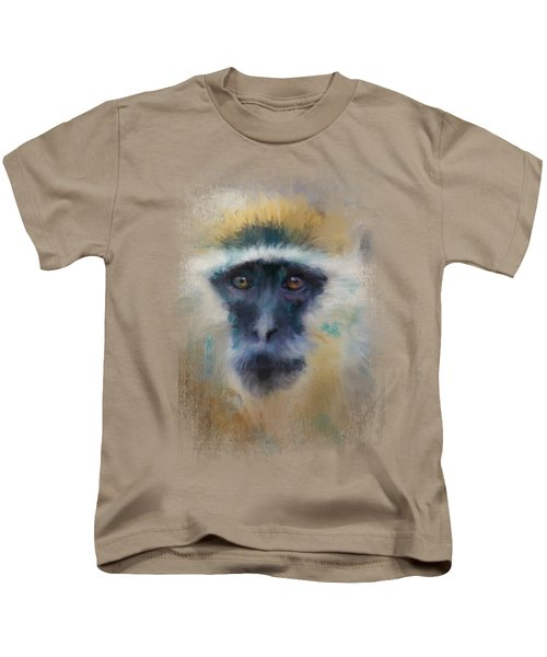 African Grivet Monkey Kids T-Shirt by Jai Johnson