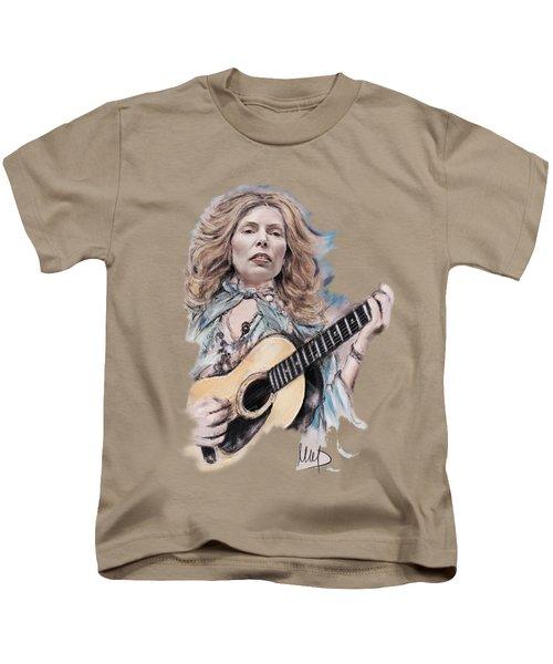 Joni Mitchell Kids T-Shirt by Melanie D