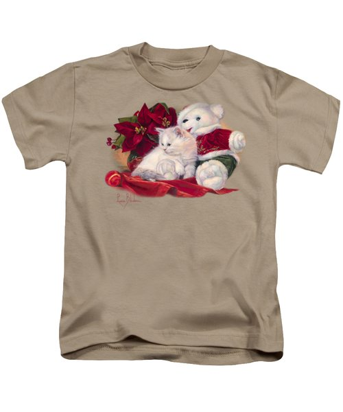 Christmas Kitten Kids T-Shirt by Lucie Bilodeau