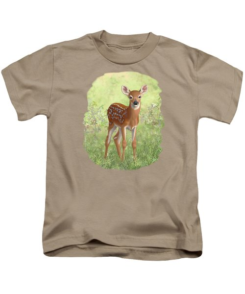 Cute Whitetail Deer Fawn Kids T-Shirt by Crista Forest