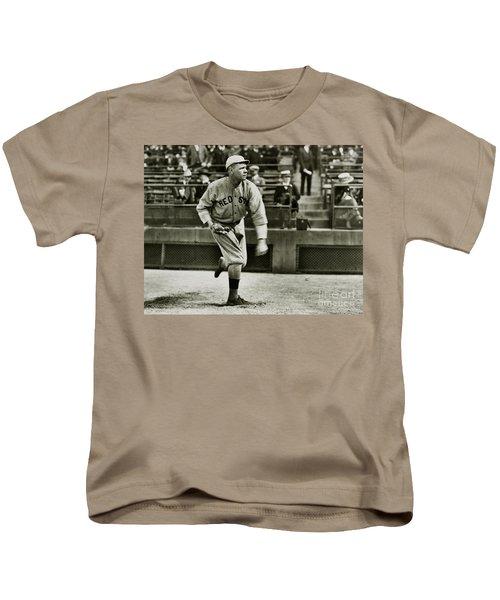 Babe Ruth Pitching Kids T-Shirt by Jon Neidert