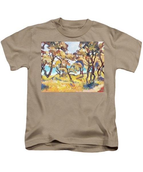 Backlight Olive Trees Marmari Beach Kids T-Shirt