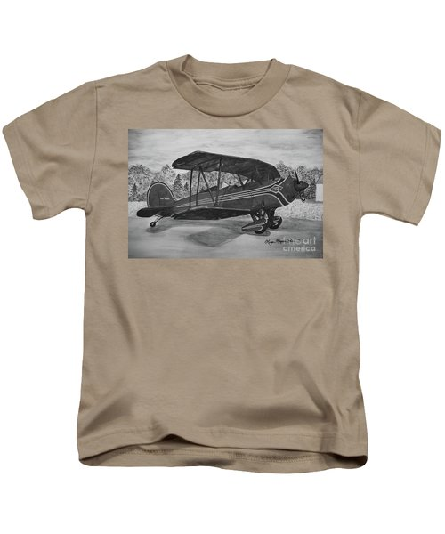 Biplane In Black And White Kids T-Shirt by Megan Cohen