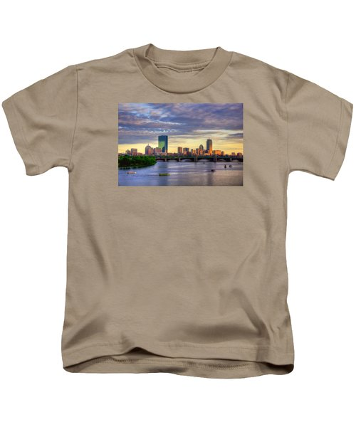 Boston Skyline Sunset Over Back Bay Kids T-Shirt by Joann Vitali