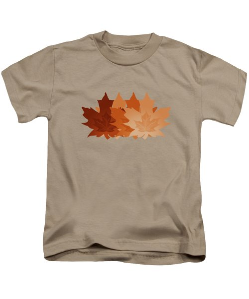 Burnt Sienna Autumn Leaves Kids T-Shirt by Methune Hively