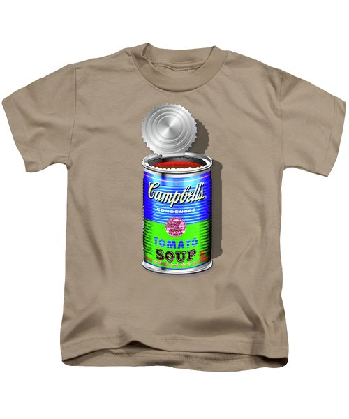 Campbell's Soup Revisited - Blue And Green Kids T-Shirt by Serge Averbukh