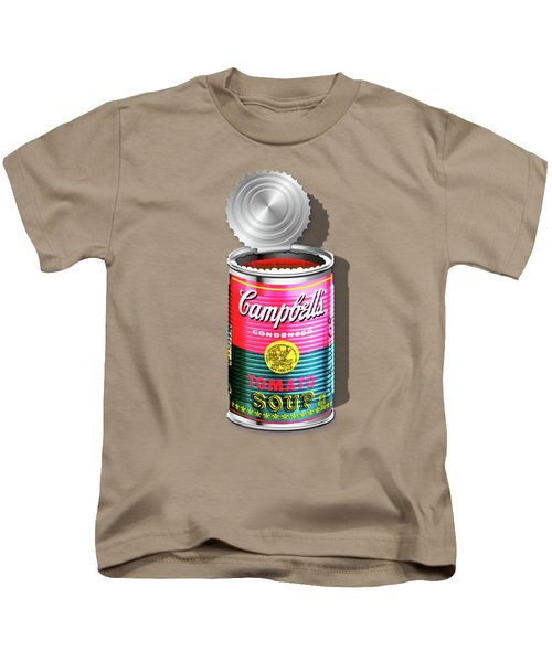 Campbell's Soup Revisited - Pink And Green Kids T-Shirt by Serge Averbukh