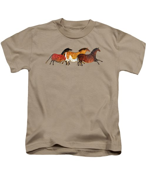 Cave Horses In Beige Kids T-Shirt