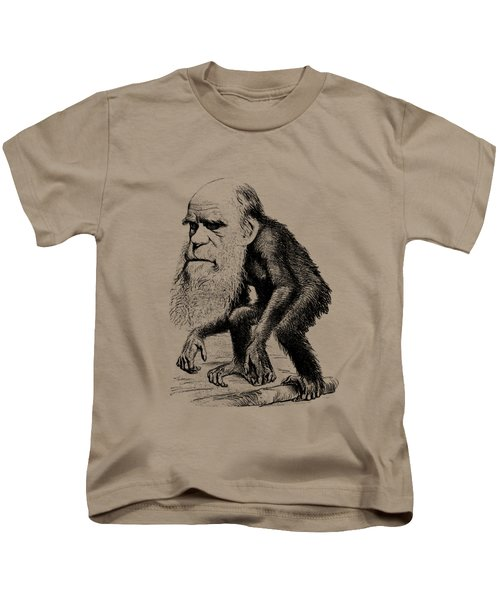 Charles Darwin As An Ape Cartoon Kids T-Shirt by War Is Hell Store