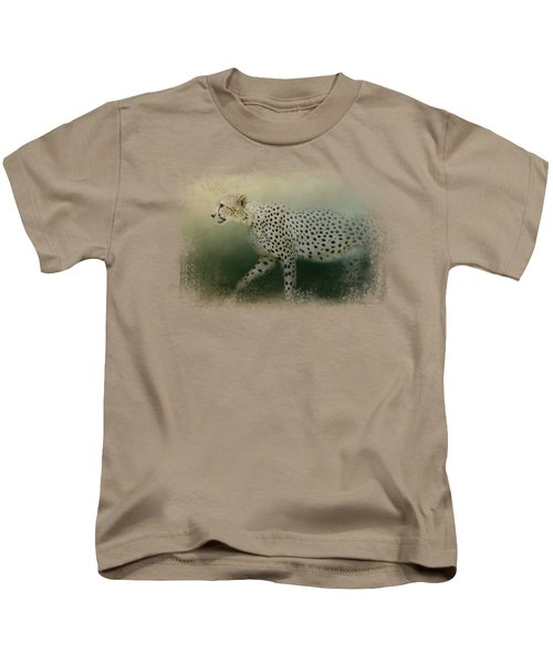 Cheetah On The Prowl Kids T-Shirt by Jai Johnson
