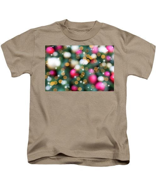 Christmas Holiday Tree Decoration Blurred Bokeh With Sparkles Kids T-Shirt
