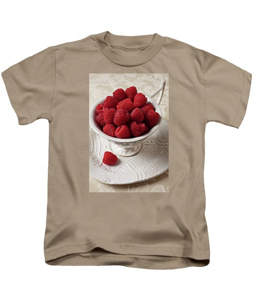 Cup Full Of Raspberries  Kids T-Shirt by Garry Gay