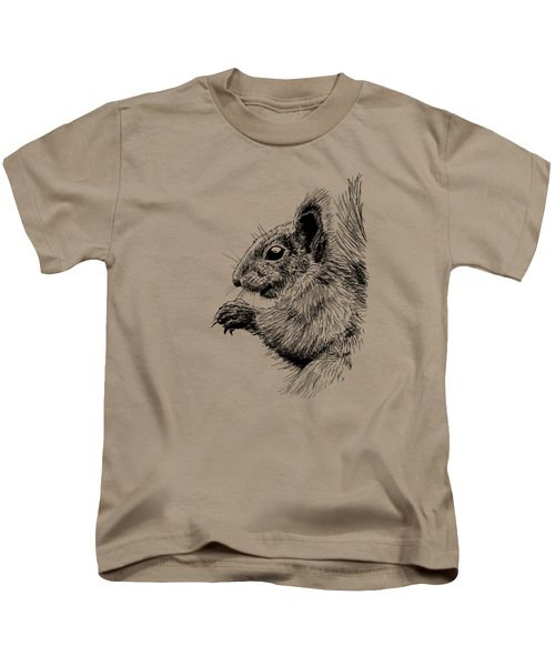 Cute Squirrel Kids T-Shirt by Masha Batkova