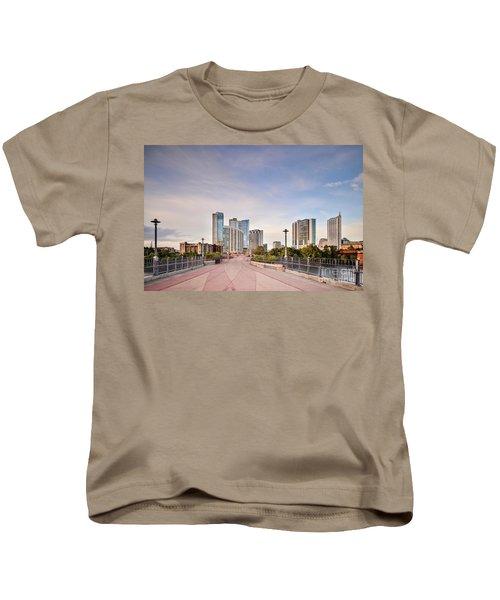 Downtown Austin Skyline From Lamar Street Pedestrian Bridge - Texas Hill Country Kids T-Shirt by Silvio Ligutti