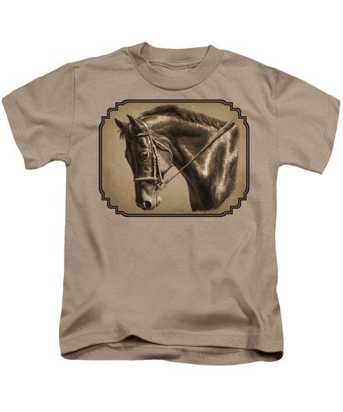 Dressage Horse Sepia Phone Case Kids T-Shirt