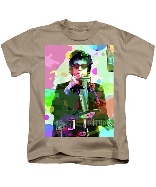 Dylan In Studio Kids T-Shirt by David Lloyd Glover