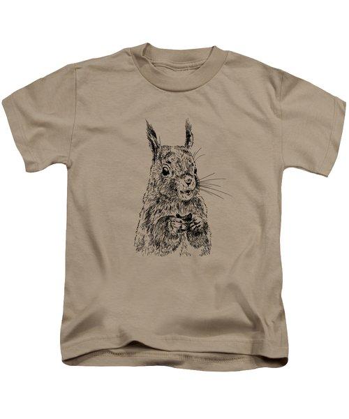 Eating Squirrel Kids T-Shirt by Masha Batkova