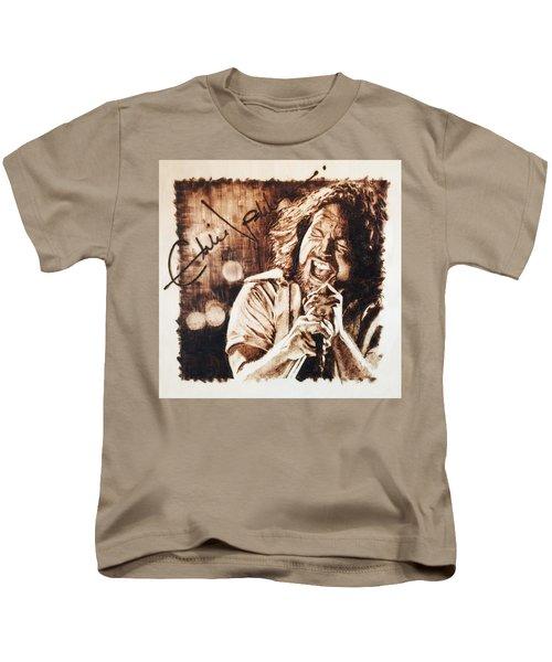 Eddie Vedder Kids T-Shirt by Lance Gebhardt