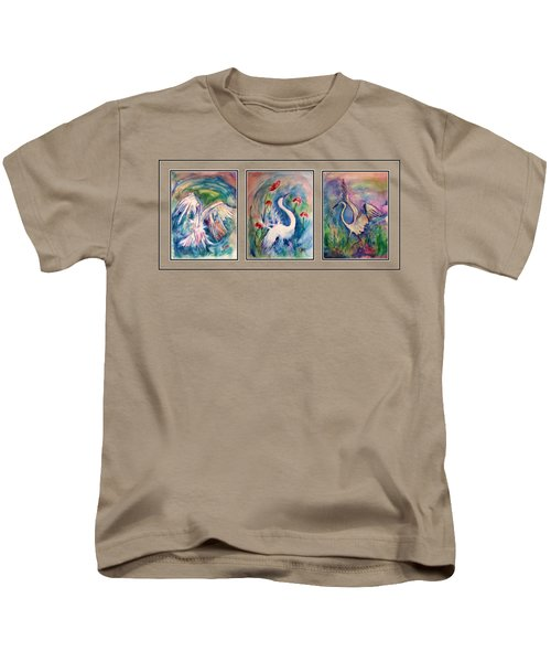 Egret Series Kids T-Shirt by Robin Monroe