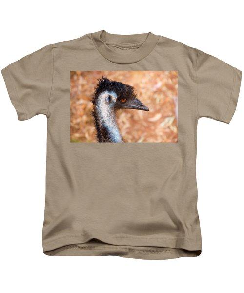 Emu Profile Kids T-Shirt by Mike  Dawson